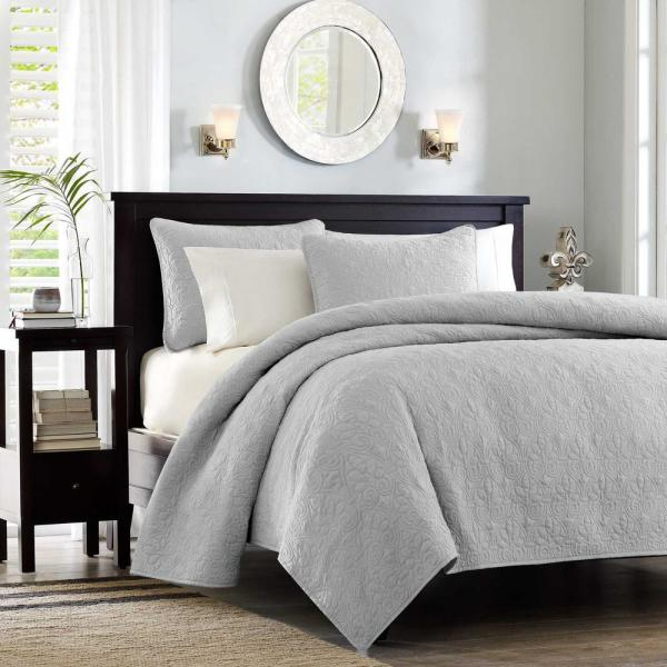 Madison Park Mansfield 2-Piece Grey Twin/Twin XL Reversible Mini Coverlet Set