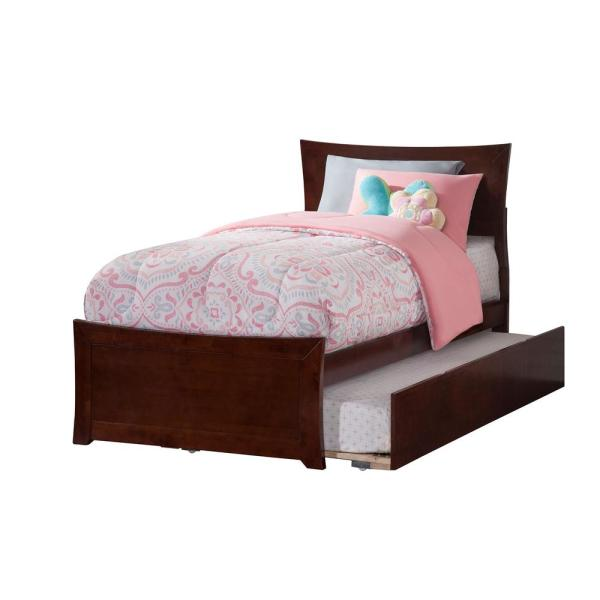 Atlantic Furniture Metro Walnut Twin Platform Bed with Matching Foot Board