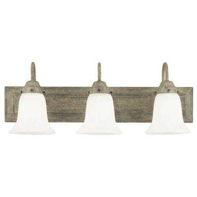 3-Light Cobblestone Interior Wall Fixture with Frosted White Alabaster Glass