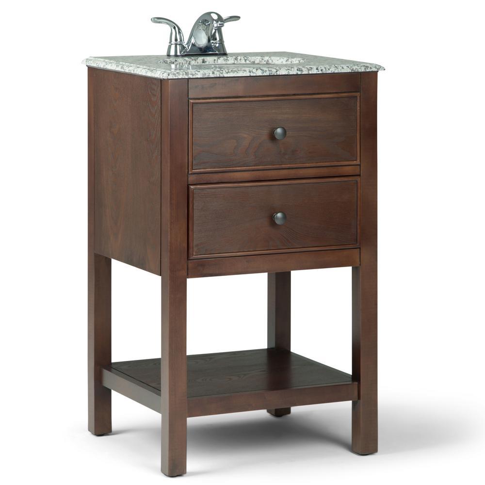 Burnaby 20 in. Bath Vanity in Walnut Brown with Granite Vanity Top in Dappled Grey with White Basin