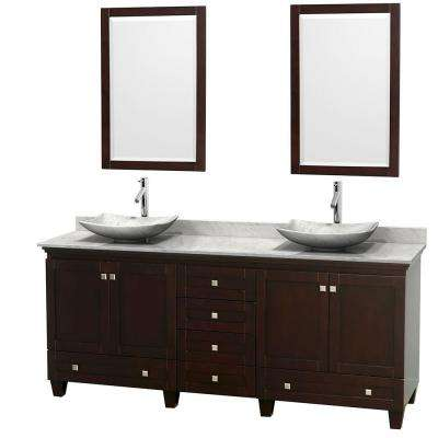 Acclaim 80 in. W Double Vanity in Espresso with Marble Vanity Top in Carrara White, White Carrara Sinks and 2 Mirrors