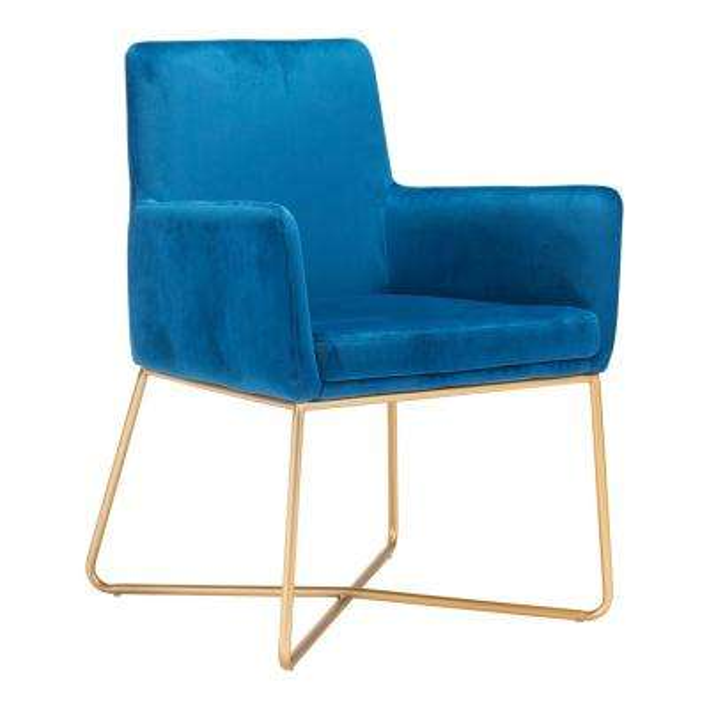 Honoria Blue Velvet Arm Chair