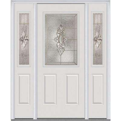 64.5 in. x 81.75 in. Heirlooms Right-Hand 1/2-Lite Decorative Painted Fiberglass Smooth Prehung Front Door w/ Sidelites