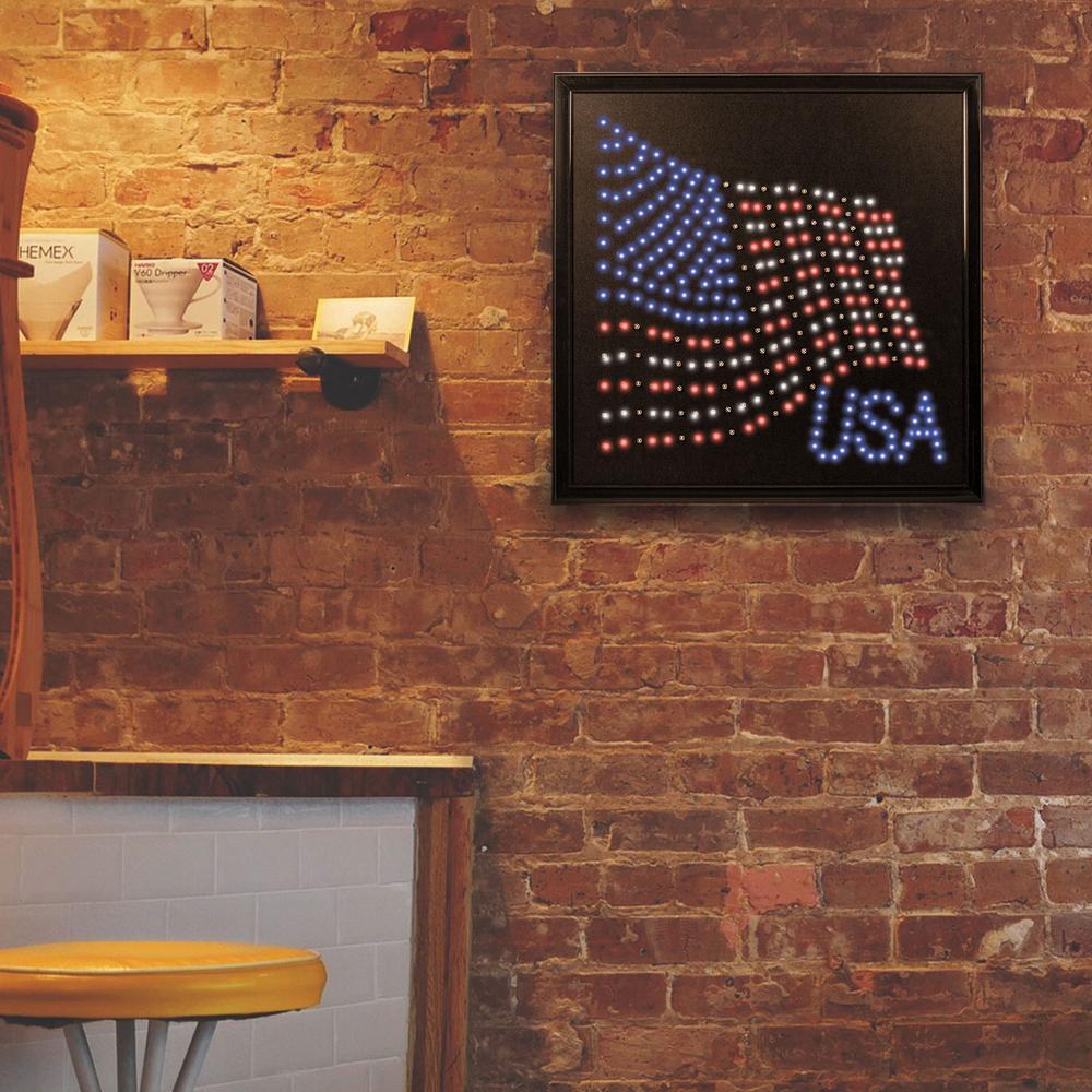 USA American Flag Framed LED Sign