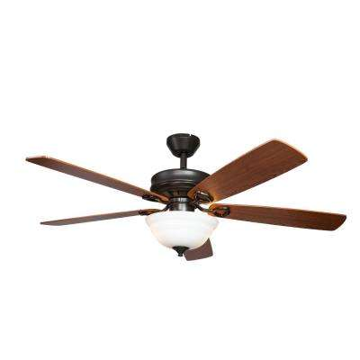 Dome 52 in. Indoor Wood Brown Semi-Flush Ceiling Fan With Light and Remote Control