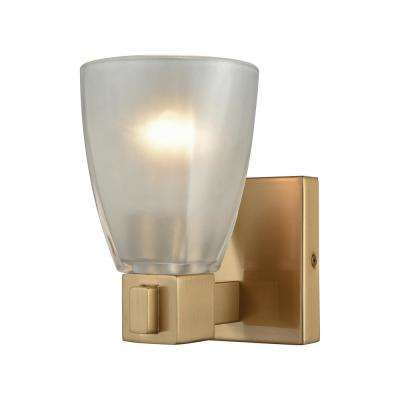 Ensley 1-Light Satin Brass with Frosted Glass Bath Light
