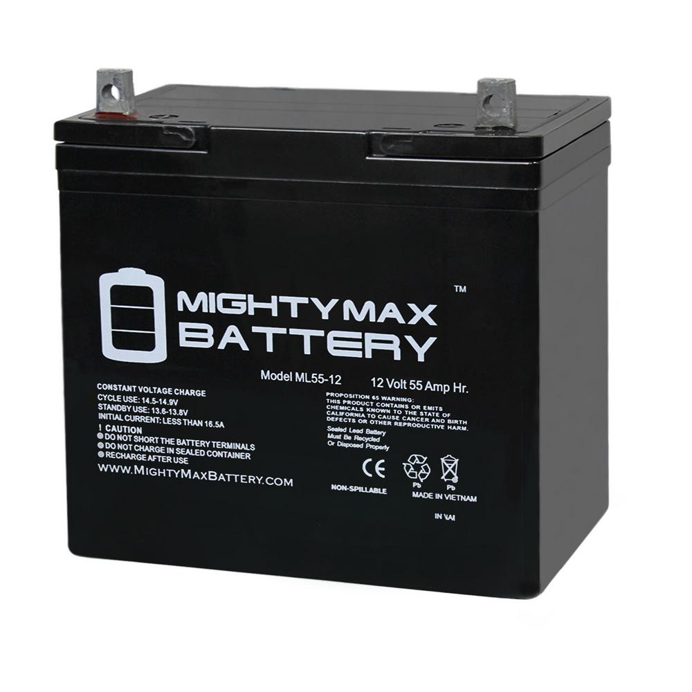 MIGHTY MAX BATTERY 12-Volt 55 Ah Rechargeable Sealed Lead Acid (SLA) Battery