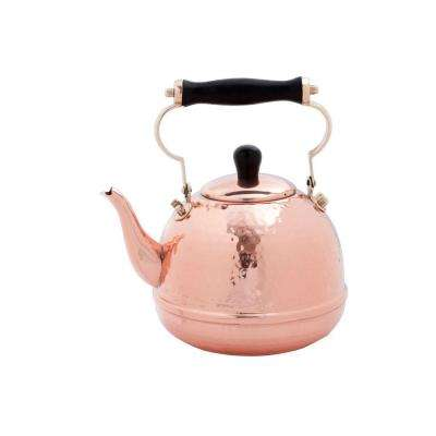 2 Qt. Solid Copper Hammered Tea Kettle with Wood Handle