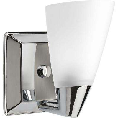 Rizu Collection 1-Light Polished Chrome Bath Sconce with Etched Glass Shade
