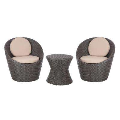 Bella Bollo 3-Piece Round Wicker Patio Bistro Set with Beige Cushions