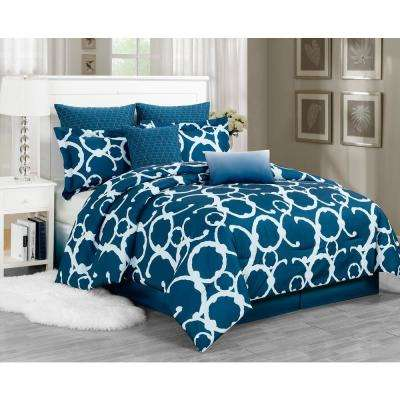 Rhys Indigo 7-Piece Queen Comforter Set