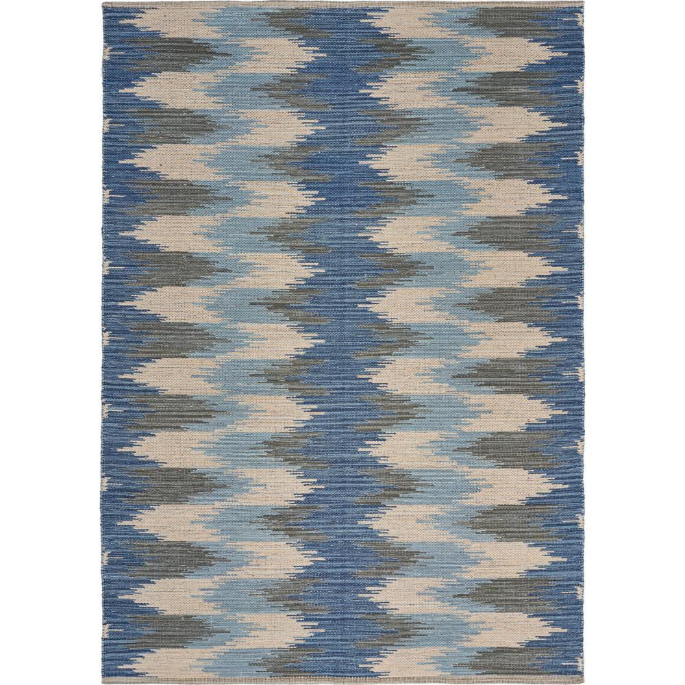 Aurora Blue/Cream 5 ft. x 7 ft. Serpentine Stripes Area Rug