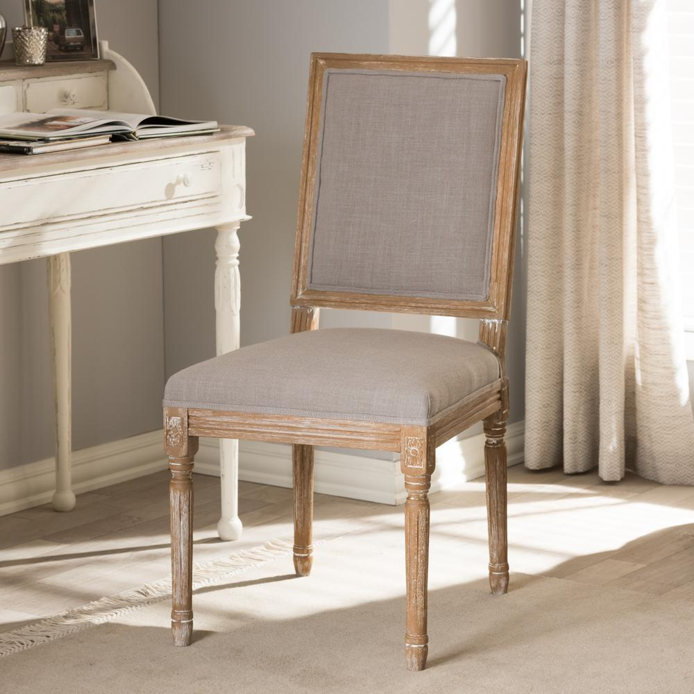 Clairette Beige Fabric Upholstered Dining Chair