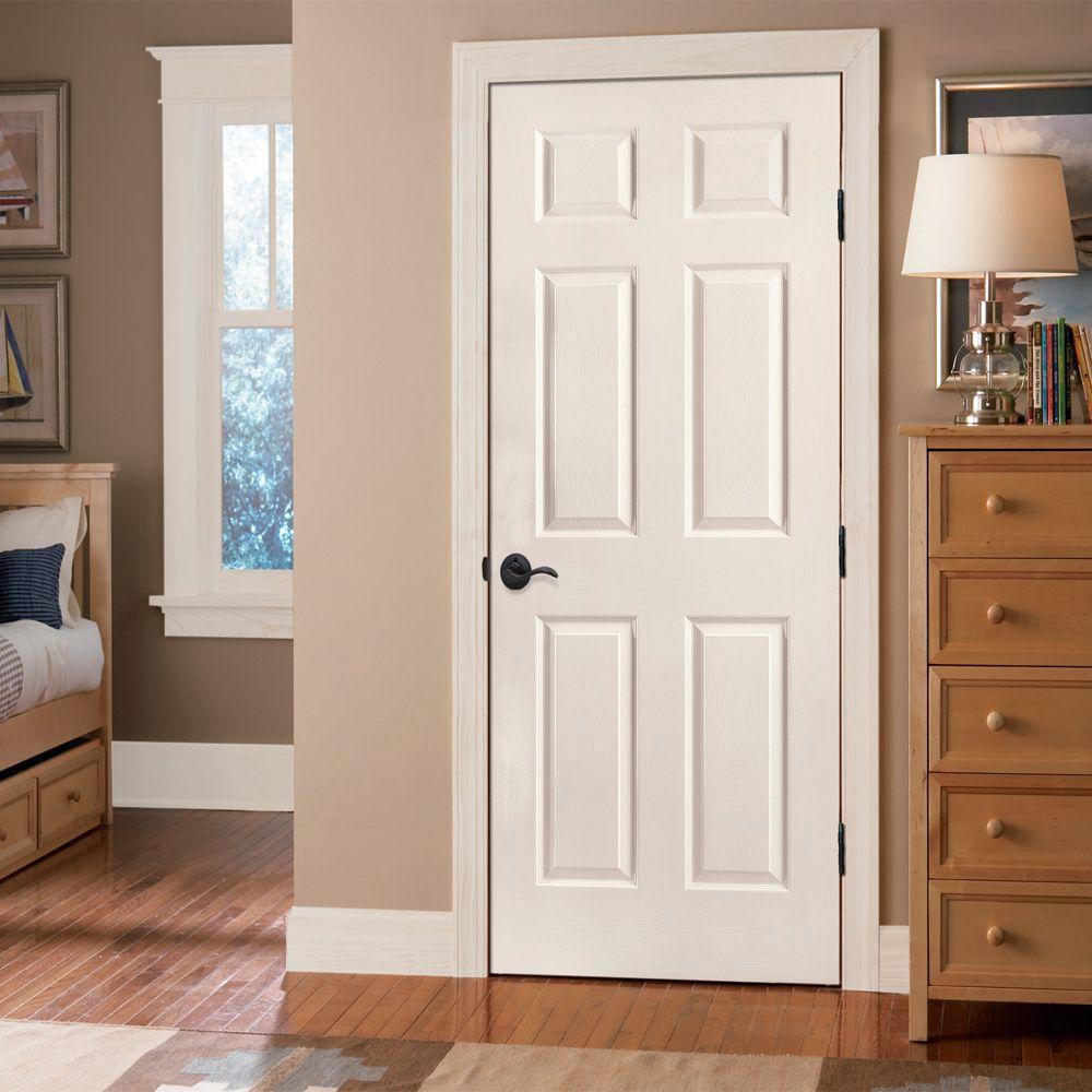 Masonite 30 In X 80 In Textured 6 Panel Hollow Core Primed Composite Interior Door Slab 16474 The Home Depot