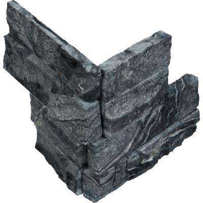 Glacial Black Ledger Corner 6 in. x 6 in. x 6 in. Natural Marble Wall Tile (2.5 sq. ft. / case)