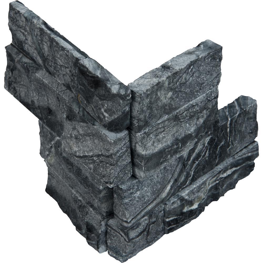 Glacial Black Ledger Corner 6 in. x 6 in. x 6 in. Natural Marble Wall Tile (2.5 sq. ft. / case)