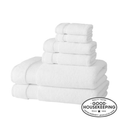 Egyptian Cotton 6-Piece Bath Sheet Towel Set in White