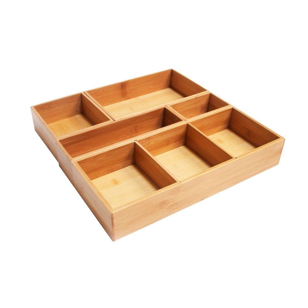 Bamboo Drawer Organizer Box