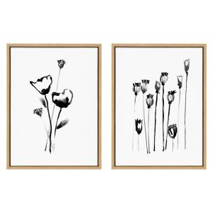 Sylvie ''Wildflowers and Seedpods '' by Teju Reval Framed Canvas Wall Art Set 18 in. x 24 in.