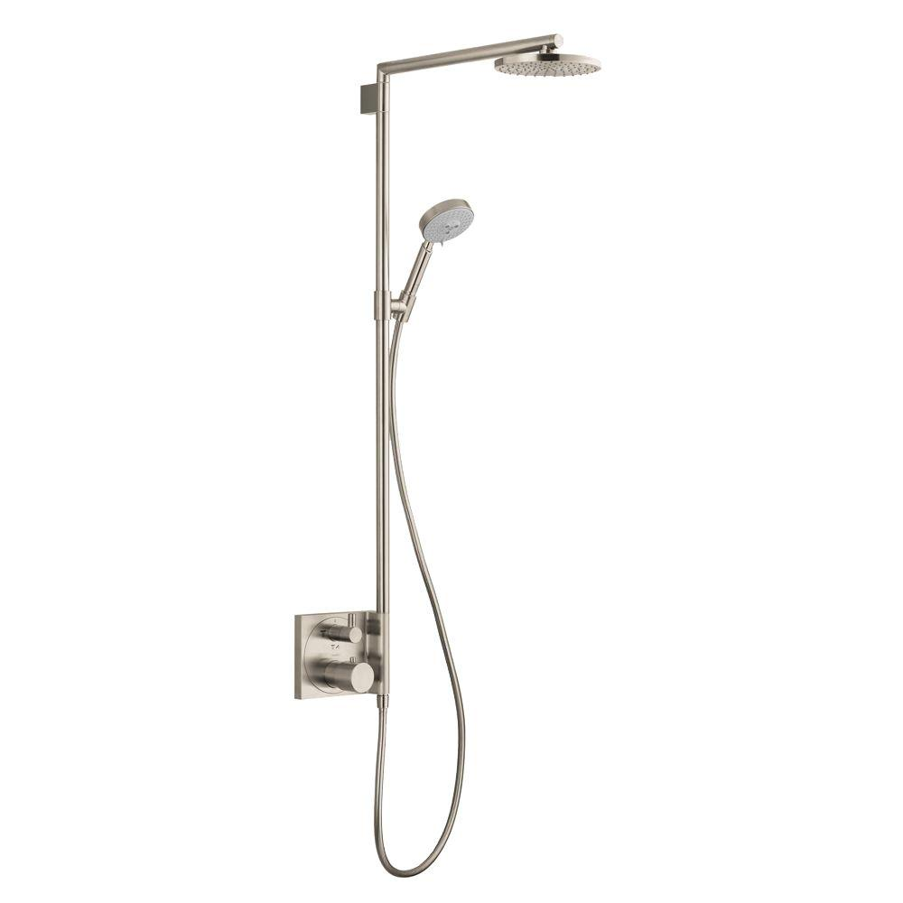 hansgrohe raindance s 180 shower system in brushed nickel 27192821 the home depot. Black Bedroom Furniture Sets. Home Design Ideas
