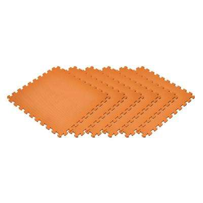 Orange 24 in. x 24 in. x 0.47 in. Foam Interlocking Floor Mat (6-Pack)