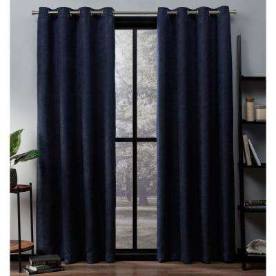 Oxford 52 in. W x 63 in. L Woven Blackout Grommet Top Curtain Panel in Navy (2 Panels)