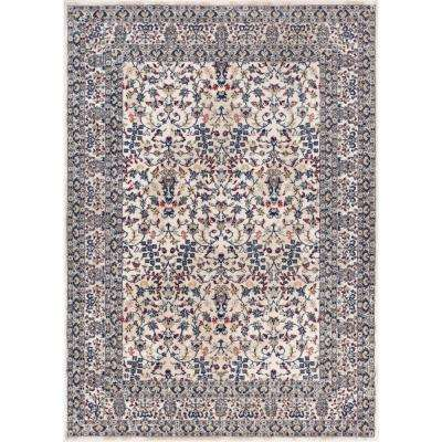 Luxbury Keshan Blue 8 ft. x 11 ft. Traditional Distressed Area Rug