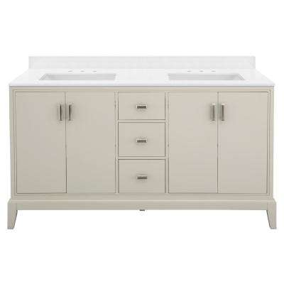 Shaelyn 61 in. W x 22 in. D Bath Vanity in Rainy Day with Engineered Marble in Snowstorm with White Sinks