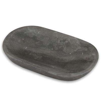 Bullet Natural Marble Oval Soap Dish in Charcoal