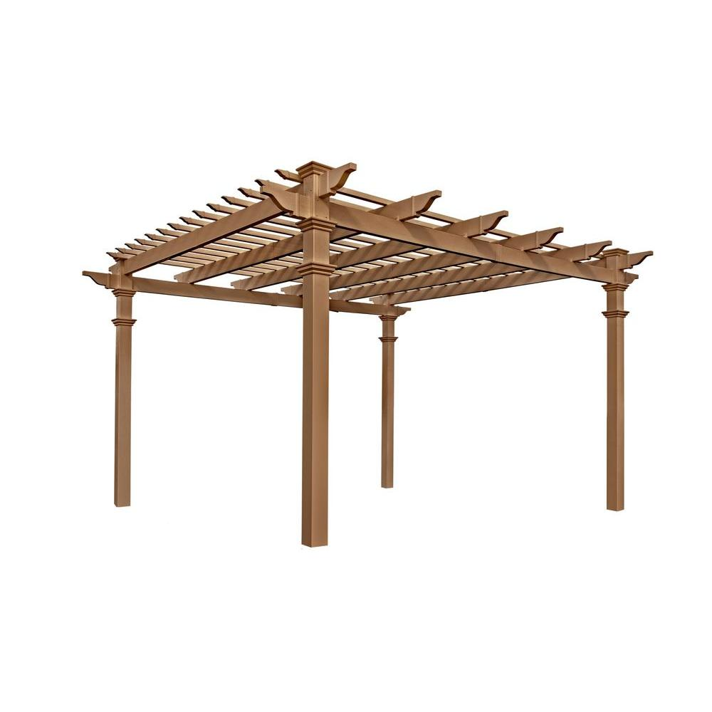 Tan Cedar Composite Vinyl Pergola - Resin - Pergolas - Sheds, Garages & Outdoor Storage - The Home Depot