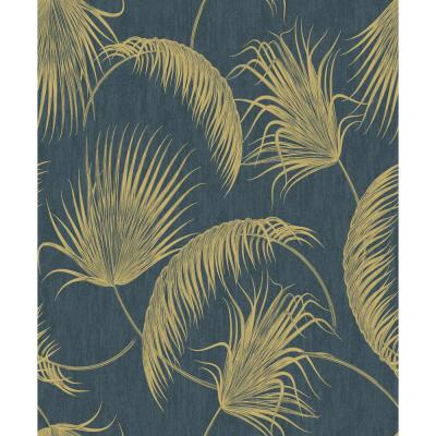 Oasis Blue and Gold Foil Leaves Wallpaper