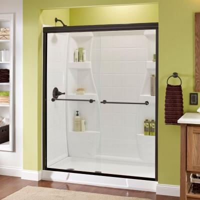 Lyndall 60 in. x 70 in. Semi-Frameless Traditional Sliding Shower Door in Bronze with Clear Glass