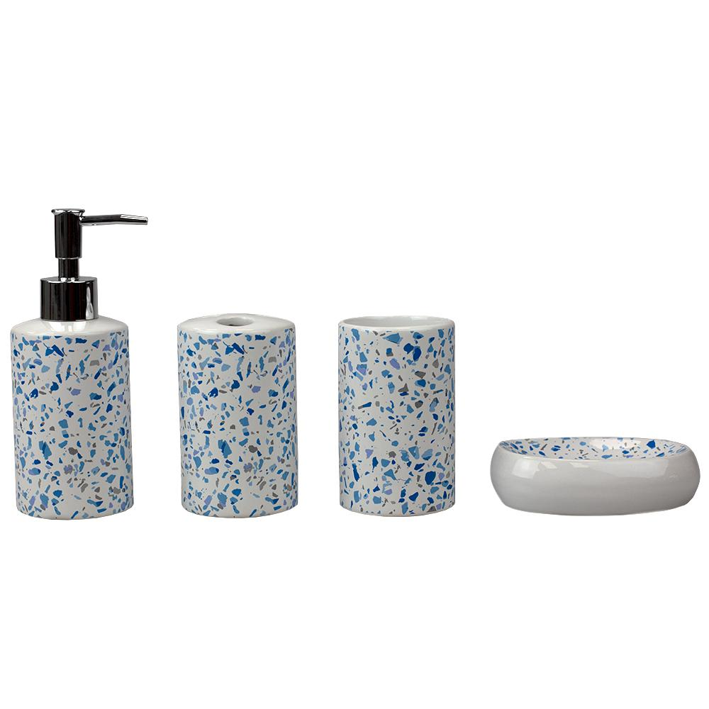 Home Basics Trendy Terrazzo 8-Piece Ceramic Bath Accessory Set in  Blue-HDC8 - The Home Depot