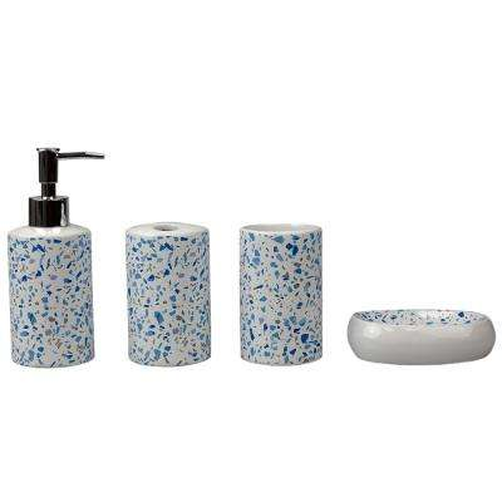 Trendy Terrazzo 4-Piece Ceramic Bath Accessory Set in Blue