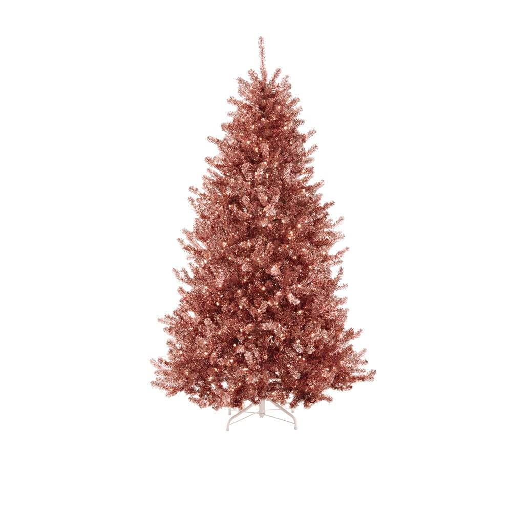 Pre Lit Sterling Tinsel Pink And Champagne Christmas Tree With 750 Clear