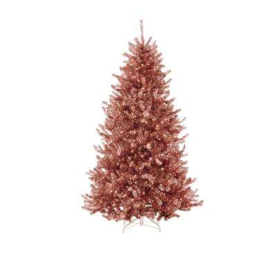 7.5 ft. Pre-Lit Sterling Tinsel Pink and Champagne Christmas Tree with 750 Clear Lights