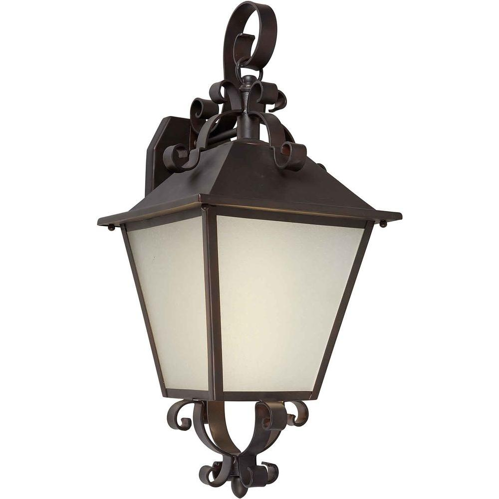 Illumine 1 Light Outdoor Lantern Antique Bronze Finish Frosted Seeded Glass Panels-DISCONTINUED