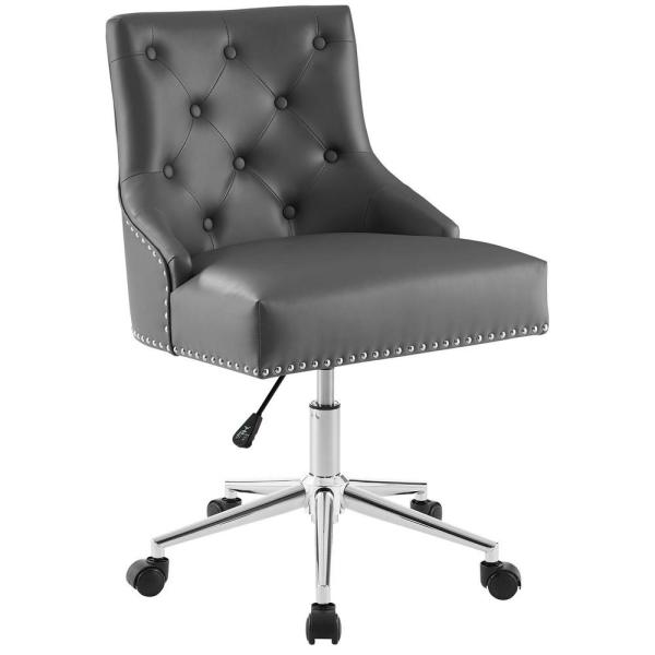 Modway Regent Gray Tufted Button Swivel Faux Leather Office Chair Eei 3608 Gry The Home Depot