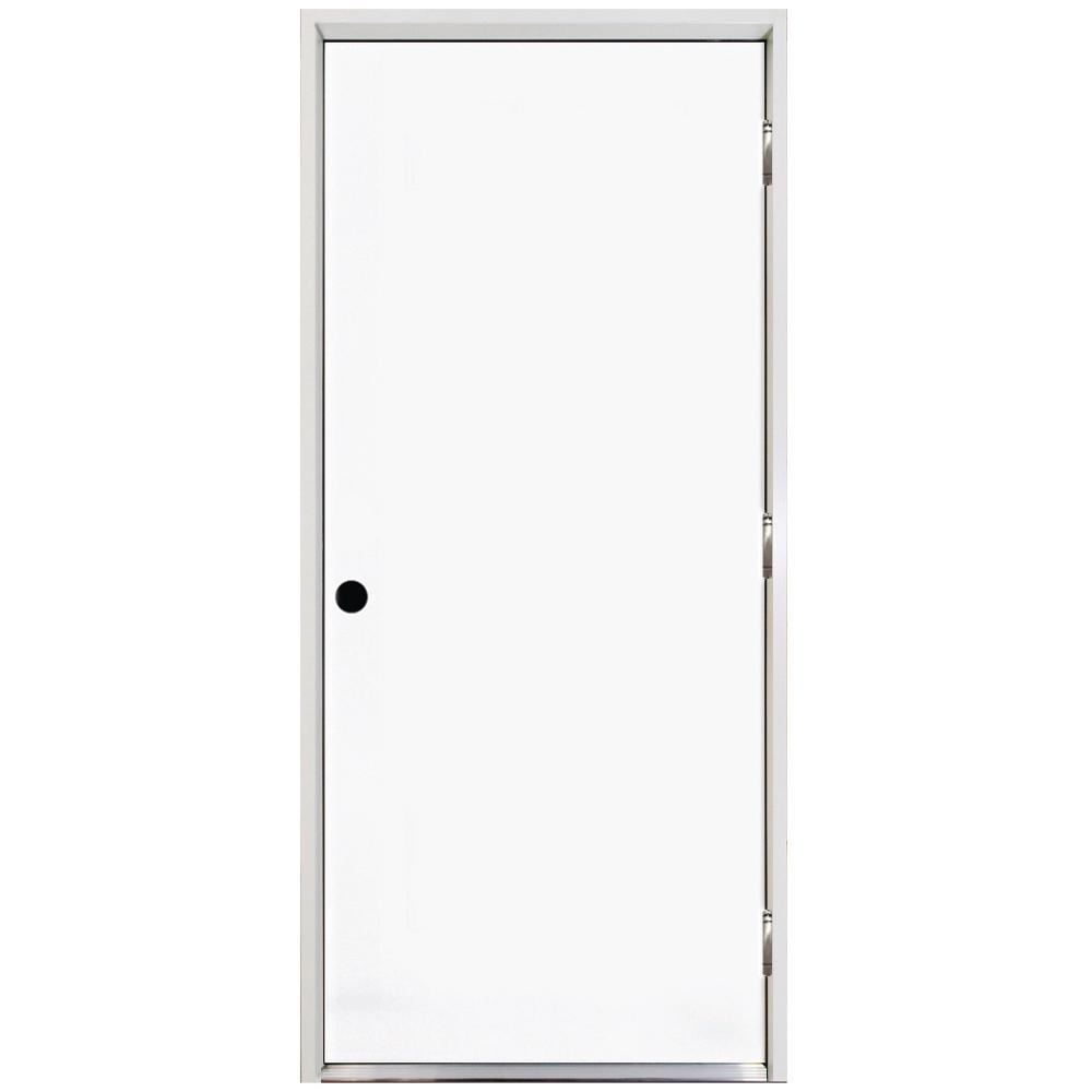 32 in. x 80 in. Classic Basic Flush Left-Hand Outswing Primed