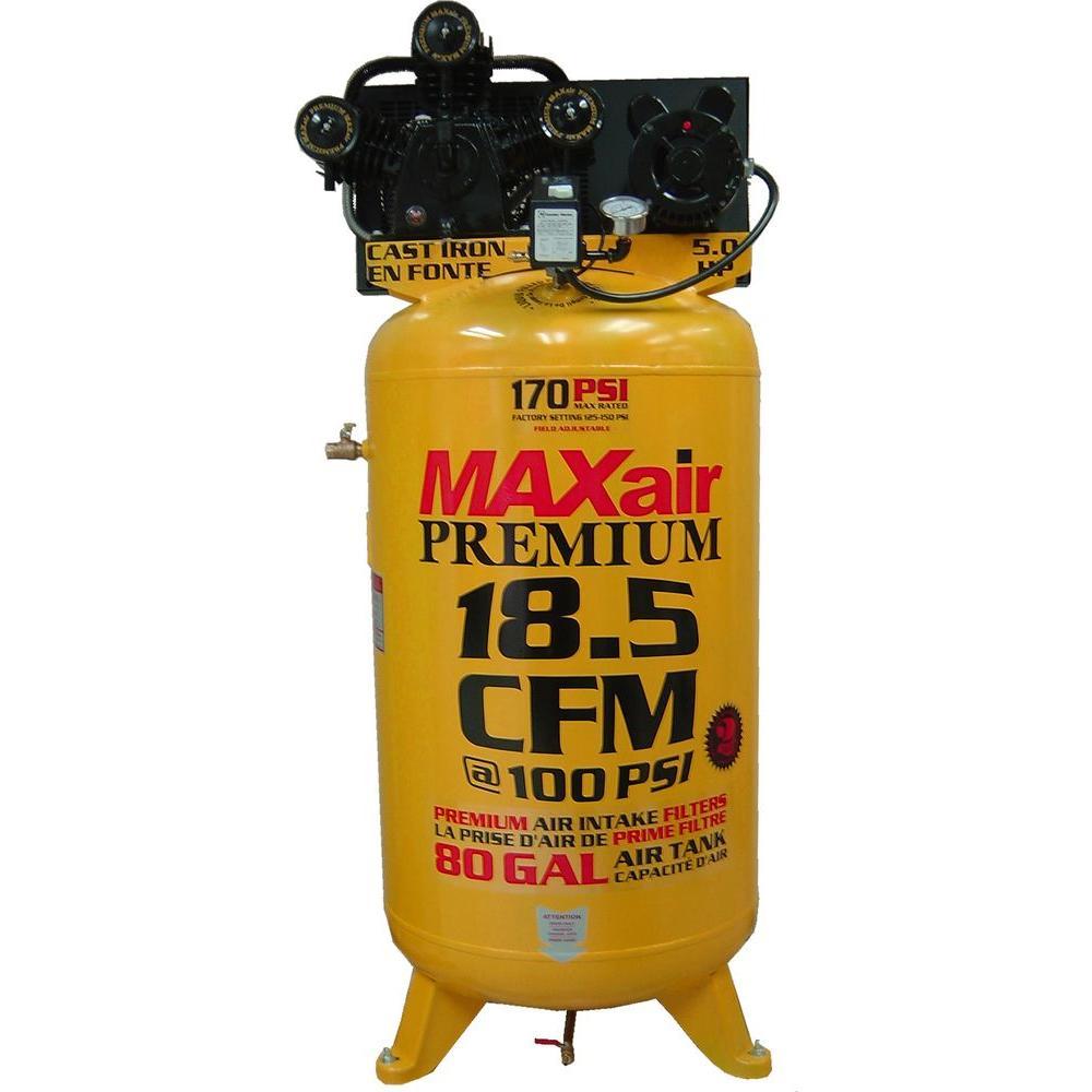Maxair Premium Industrial 80-Gal. 5 HP Single Stage Vertical Air Compressor