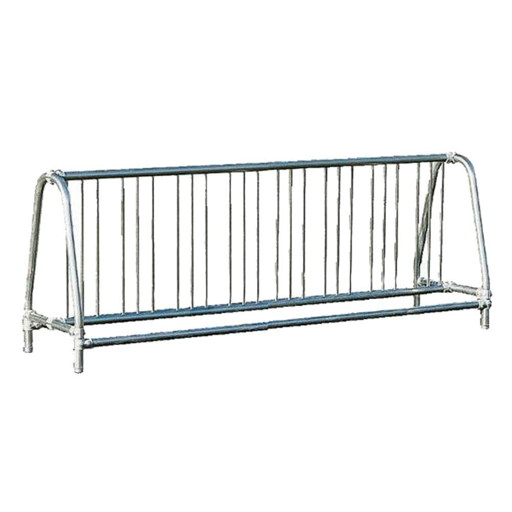 Ultra Play 8 ft. Galvanized Commercial Park Double Sided Bike Rack Portable