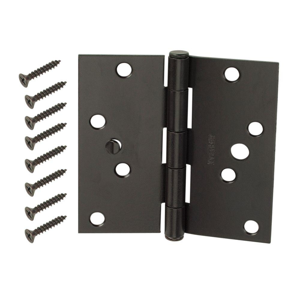 4 in. Oil-Rubbed Bronze Square Corner Security Door Hinges Value Pack