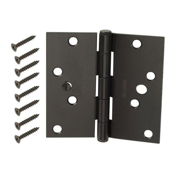 4 in. Oil-Rubbed Bronze Square Corner Security Door Hinges Value Pack (3-Pack)
