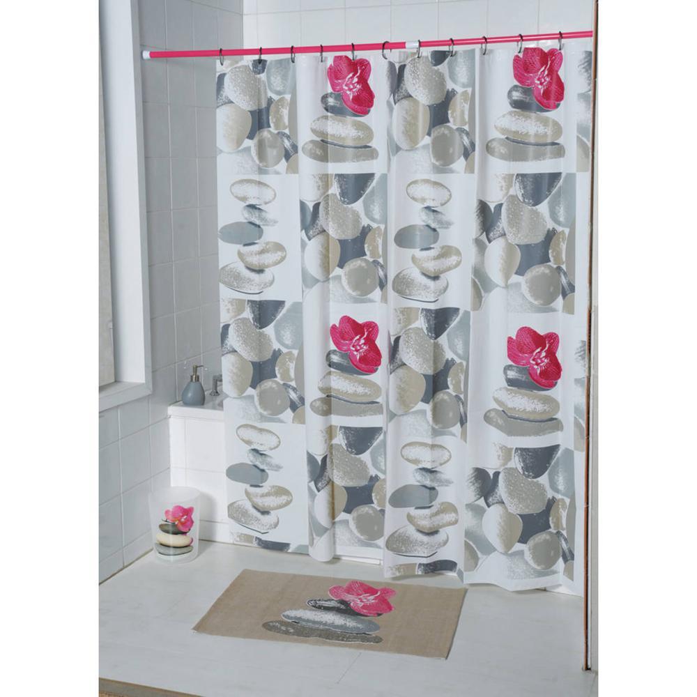 71 in. Evideco Multicolored Spa Peva Bathroom Printed Shower Curtain