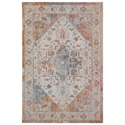 Antiquity Rust/Blue 2 ft. x 4 ft. Distressed Turkish Bordered Indoor/Outdoor Area Rug