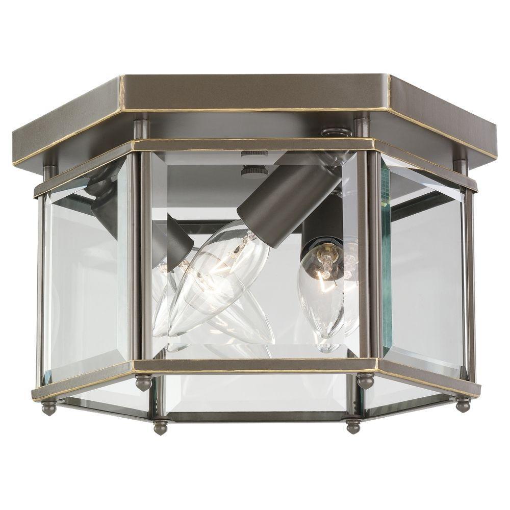 Sea Gull Lighting Bretton 3-Light Heirloom Bronze Flushmount