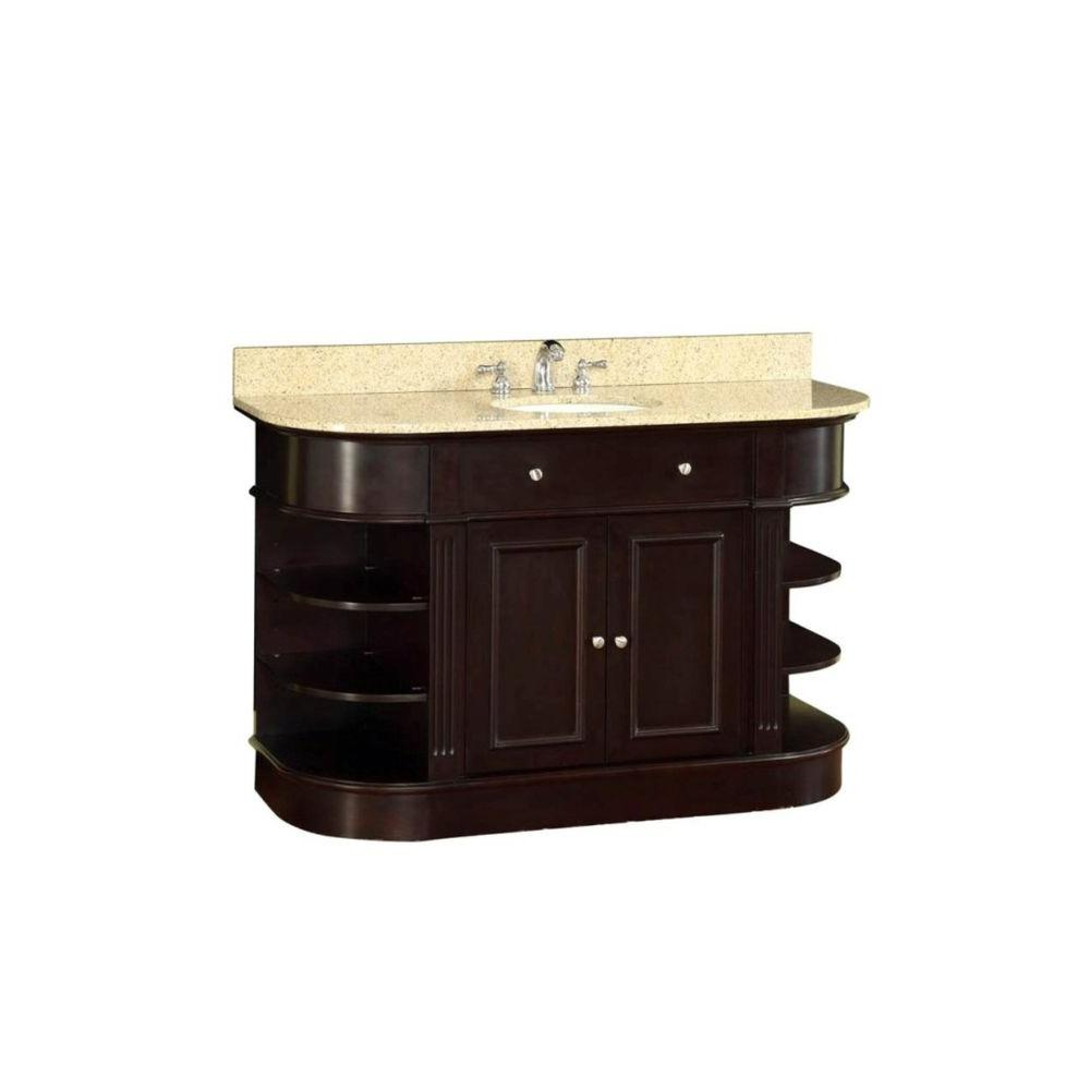null 48 in. W x 35 in. H x 22 in. D Vanity in Espresso with Marble Vanity Top in Yellow with White Basin
