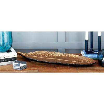26 in. x 2 in. Natural Copper Ceramic Feather Tray