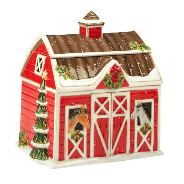 Chrismas on the Farm by Susan Winget 3-D Barn 10 in. Cookie Jar