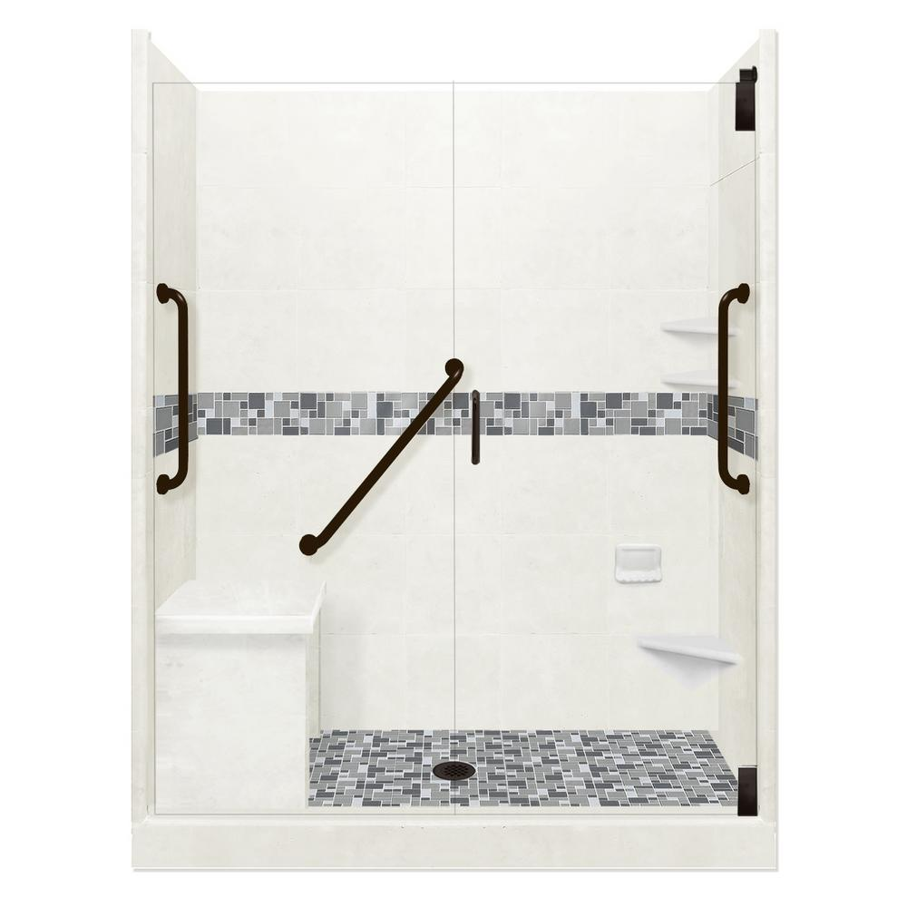 American Bath Factory Newport Freedom Grand Hinged 30 in. x 60 in. x 80 in. Center Drain Alcove Shower Kit in Natural Buff and Black Pipe